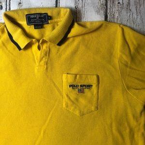 Vintage Polo Sport Yellow Blue Ralph Lauren XL